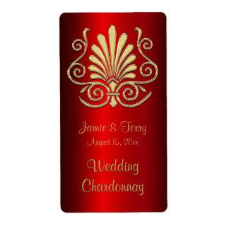 Etiqueta roja 2 del vino del fiesta del damasco etiquetas de envío