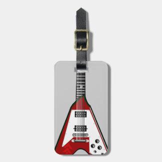 Etiqueta roja/blanca de la guitarra del vector del etiquetas maletas