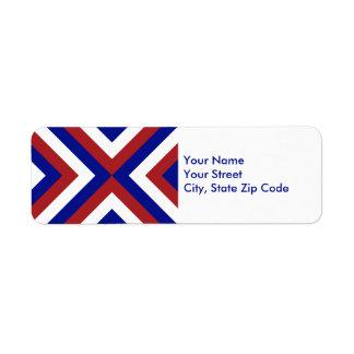 Etiqueta roja, blanca, y azul del remite de los etiqueta de remitente