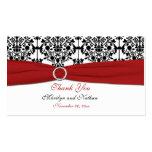 Etiqueta roja, blanca y negra del favor del boda d tarjetas de visita