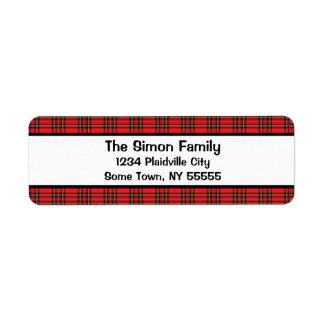 Etiqueta roja clásica del remite de la tela escoce etiquetas de remite