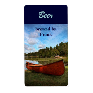 Etiqueta roja de la cerveza de la canoa etiquetas de envío