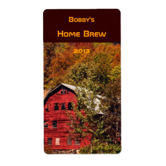 Etiqueta roja de la cerveza del granero del otoño etiquetas de envío