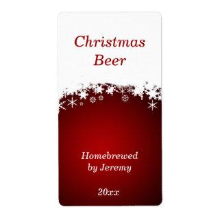 Etiqueta roja de la cerveza del navidad etiqueta de envío