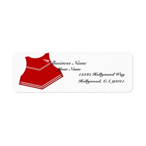Etiqueta roja de la dirección comercial de la anim etiqueta de remite