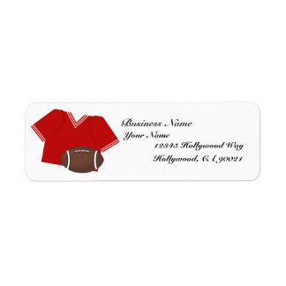 Etiqueta roja de la dirección comercial del jersey etiqueta de remite