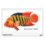 Etiqueta roja de la pared de los pescados de Cichl