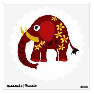 Etiqueta roja de la pared del arte del elefante y  vinilo decorativo