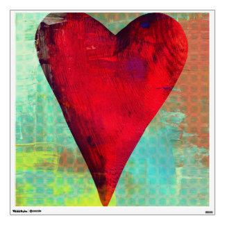 Etiqueta roja de la pared del corazón de la vinilo decorativo