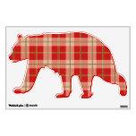 Etiqueta roja de la pared del oso de la tela escoc