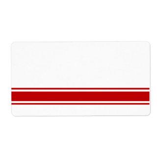 Etiqueta roja de las rayas etiqueta de envío