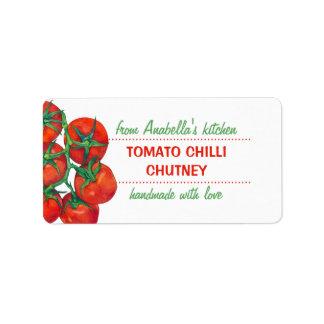 Etiqueta roja de los cotos de la cocina de los tom etiquetas de dirección