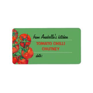 Etiqueta roja de los cotos de la cocina del verde etiqueta de dirección