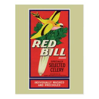 Etiqueta roja del apio de Bill del vintage Tarjetas Postales