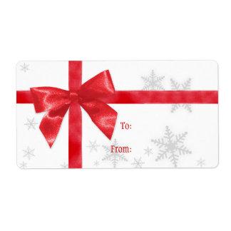 Etiqueta roja del arco del navidad etiquetas de envío