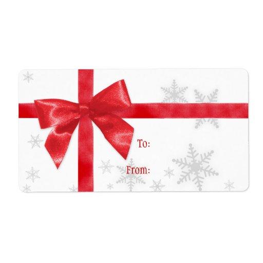 Etiqueta roja del arco del navidad etiqueta de envío