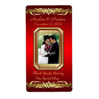 Etiqueta roja del boda del vino del oro de la gran etiqueta de envío