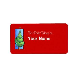 Etiqueta roja del Bookplate del árbol de navidad Etiquetas De Dirección