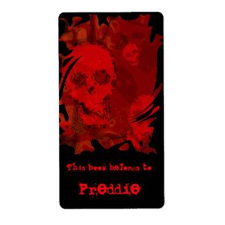 Etiqueta roja del bookplate del remolino de los etiqueta de envío