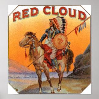 Etiqueta roja del cigarro de la nube póster