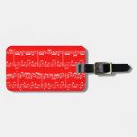 Etiqueta roja del equipaje de la partitura etiqueta para equipaje