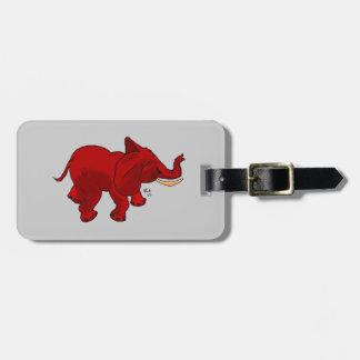 Etiqueta roja del equipaje del elefante etiquetas de equipaje