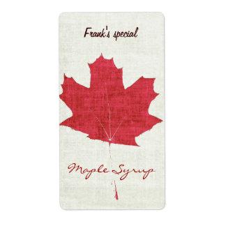 etiqueta roja del jarabe de arce de la hoja de etiquetas de envío