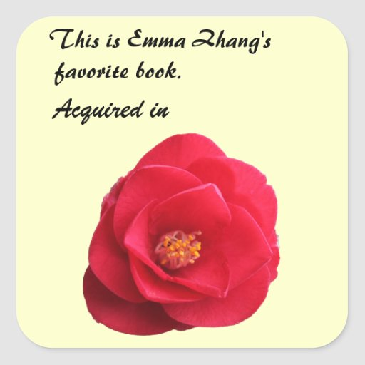 etiqueta roja del libro de la flor de la camelia
