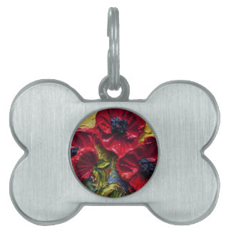 Etiqueta roja del mascota de las amapolas placas de nombre de mascota