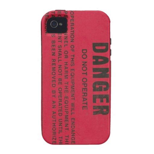 Etiqueta roja del peligro vibe iPhone 4 carcasas
