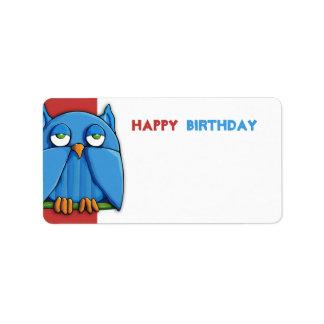 Etiqueta roja del regalo de cumpleaños del búho de etiquetas de dirección