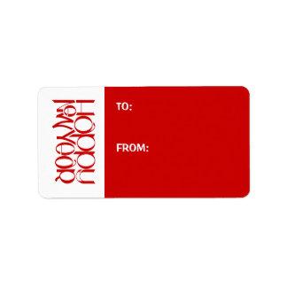 Etiqueta roja del regalo de la Feliz Año Nuevo Etiqueta De Dirección
