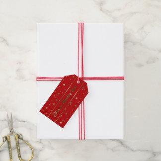 Etiqueta roja del regalo del mono de las estrellas etiquetas para regalos
