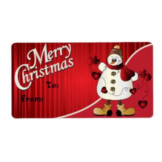 Etiqueta roja del regalo del muñeco de nieve de etiqueta de envío