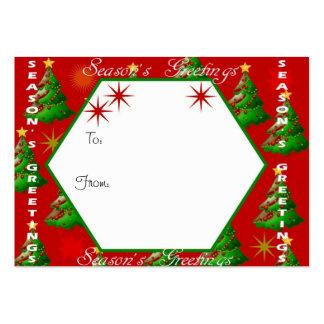 Etiqueta roja del regalo del navidad de los saludo plantillas de tarjeta de negocio