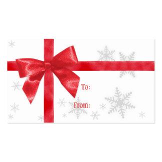 Etiqueta roja del regalo del navidad del arco tarjeta de visita