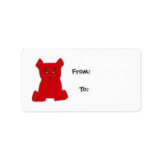 Etiqueta roja del regalo del oso etiquetas de dirección