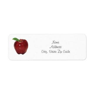 Etiqueta roja del remite de Apple Etiqueta De Remite