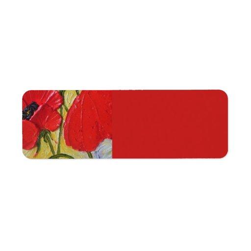Etiqueta roja del remite de la amapola etiquetas de remite