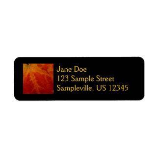 Etiqueta roja del remite de la hoja de arce etiqueta de remite