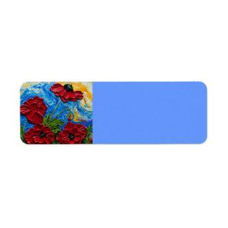 Etiqueta roja del remite de las amapolas etiqueta de remitente
