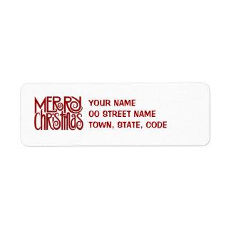 Etiqueta roja del remite de las Felices Navidad Etiqueta De Remite