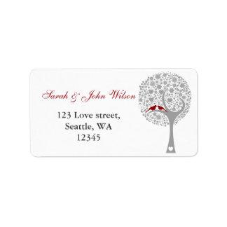 etiqueta roja del remite de los lovebirds del árbo etiqueta de dirección