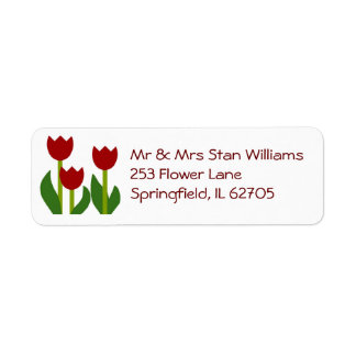 Etiqueta roja del remite de los tulipanes etiqueta de remite