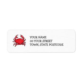 Etiqueta roja del remite del cangrejo etiqueta de remite