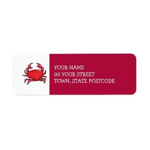 Etiqueta roja del remite del cangrejo rojo etiqueta de remite