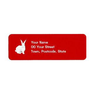 Etiqueta roja del remite del conejo etiquetas de remite