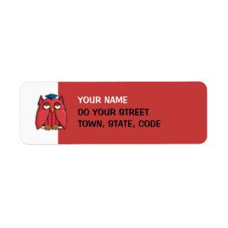 Etiqueta roja del remite del graduado rojo del búh etiquetas de remite