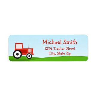 Etiqueta roja del remite del tractor etiquetas de remite
