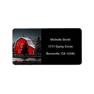 Etiqueta roja espectacular de Avery del granero Etiquetas De Dirección